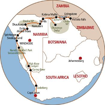 Safari Map for Cape to Vic Tour