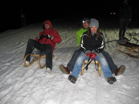 skiing in a group